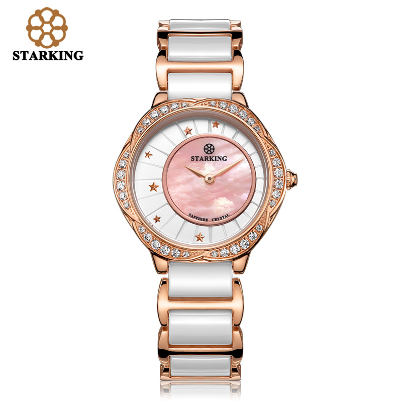 STARKING Women good quality Quartz Shell Dial sapphire Crystal Rhinestone Women Dress Fashion Ceramic Watches Relogio Feminino