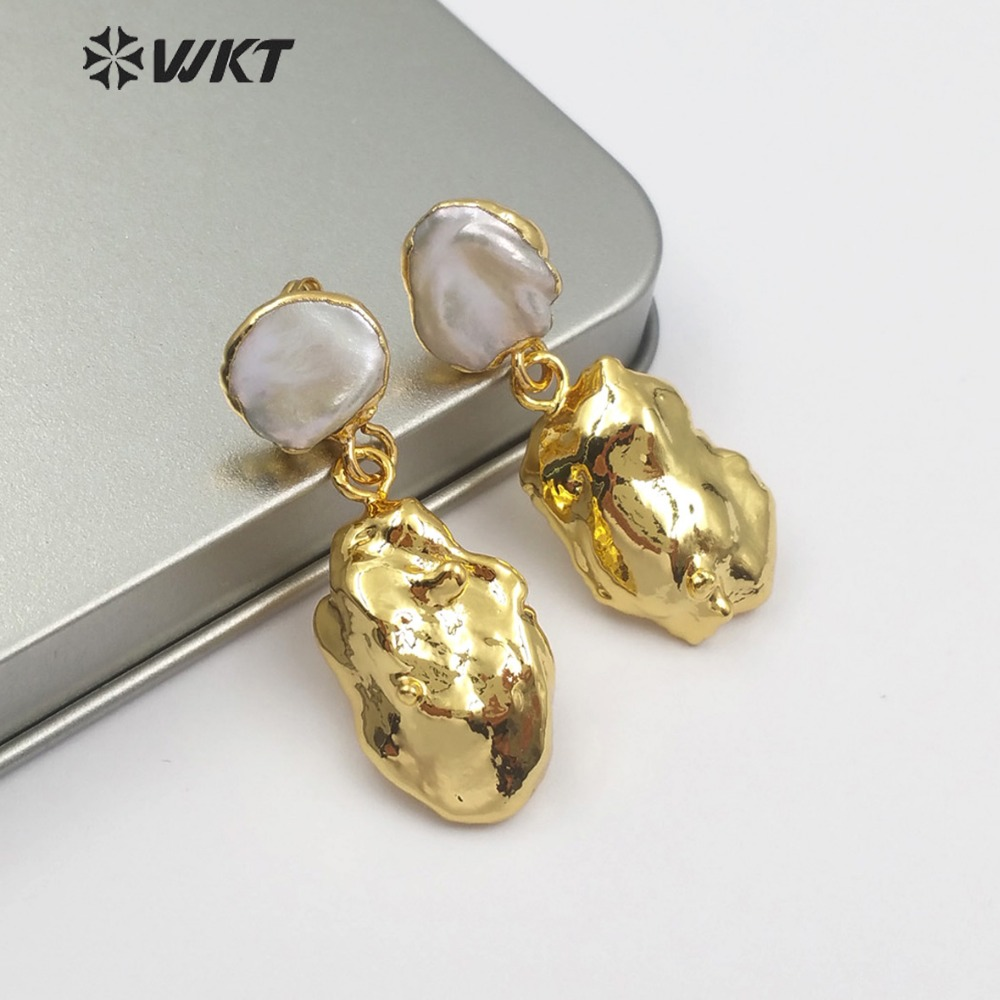 WKT WT E490 New Products Natural Baroque Pearl Women s Gifts Irregular Golden Colour Earrings