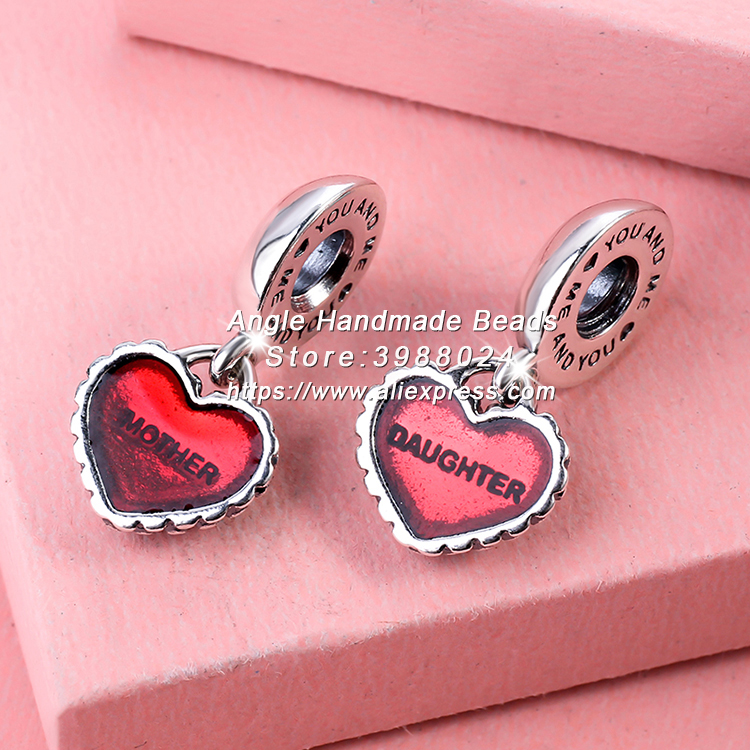 Fashion S925 Silver Beads Piece of My Heart Mother/Daughter With Red Enamel Dangle Charms Fit European DIY Bracelets Necklace 08