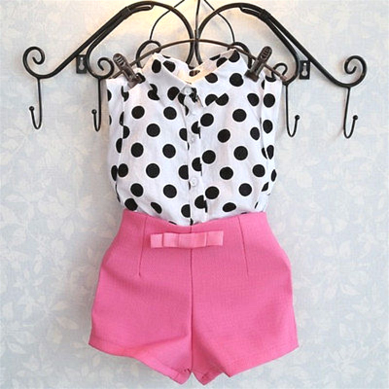 Summer Fashion Girls Baby Kids Black & White Polka Dot Shirt Tops Pink Bow Short Pants Shorts Outfit 2pcs Set 1-6 Years 2pcs children outfit clothes kids baby girl off shoulder cotton ruffled sleeve tops striped t shirt blue denim jeans sunsuit set