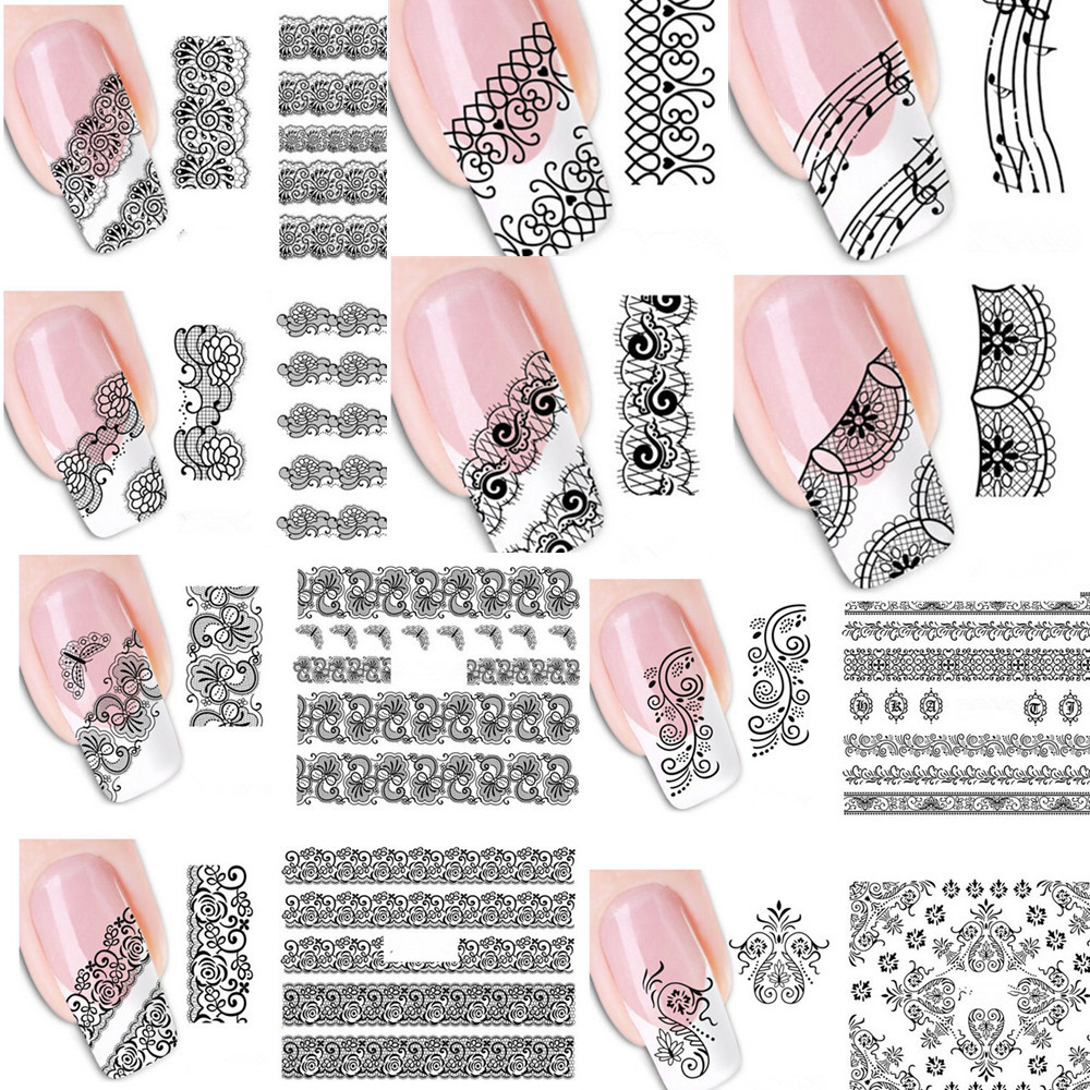 20pcs Mixed Fashion Black Lace Vine Charm Nail Art Stickers Water Transfer Decals Wraps Tattoos Diy Printing In From Beauty
