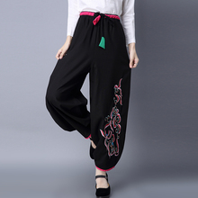 Womens Cotton Linen Bloomers Lantern Pants Mix Color Trousers Embroidery Black Loose