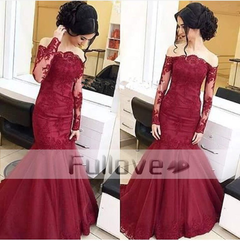 Fashionable Boat Neck Long Sleeve Mermaid Long Evening Dresses 2019 Burgundy Appliques Lace Formal Dress Vestido De Festa Kaftan Weddings & Events