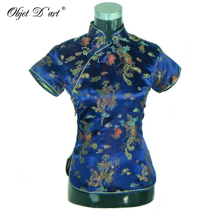 Retro Chinese Women Cheongsam Tops Dragon Phoenix Embroidered Qipao Shirt Traditional Short Sleeves Qipao Blouse Size S-3XL