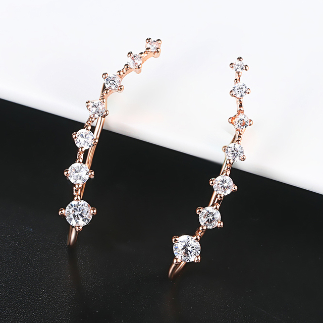 long Dipper Ear Hook Clip Earrings for Women Four Prong Setting 7pcs CZ Rose Gold Color.jpg 640x640 - long Dipper Ear Hook Clip Earrings for Women Four-Prong Setting 7pcs CZ Rose Gold Color Fashion Jewelry E534 E548 E527