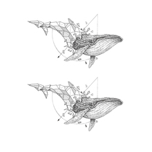 Waterproof Temporary Tattoo Stickers Cool Grey Geometric Whale Design Body Art Makeup Tools