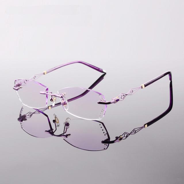 Новые женские Оправы Titanium Очки Без Оправы Кадров Резки Lenes с Бриллиантом Óculos Де Грау YS-58073 3 Красный Розовый фиолетовый