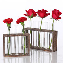 Creative Hydroponic Plant Transparent Vase Wooden Frame vase decoratio Glass Tabletop Plant Bonsai Decor flower vase(China)
