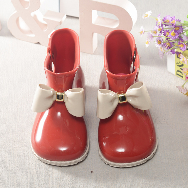 CLASSICAL Memon Rain Boots  PVC Girls Shoes Bow Jelly Water Shoes Flat Short New Shoes Kids 3 Colors  kids shoes