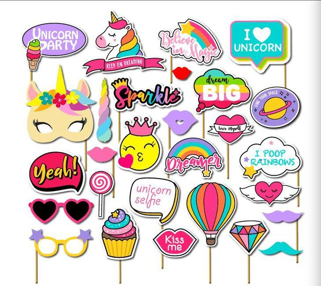 Rainbow Unicorn Emoji Baby Girl Birthday Party Photo Booth Props On A Stick I Believe In