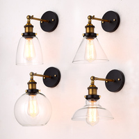Wholesale Price Loft Vintage Industrial Edison Wall Lamps Clear Glass Lampshade Antique Copper Wall Lights 110V