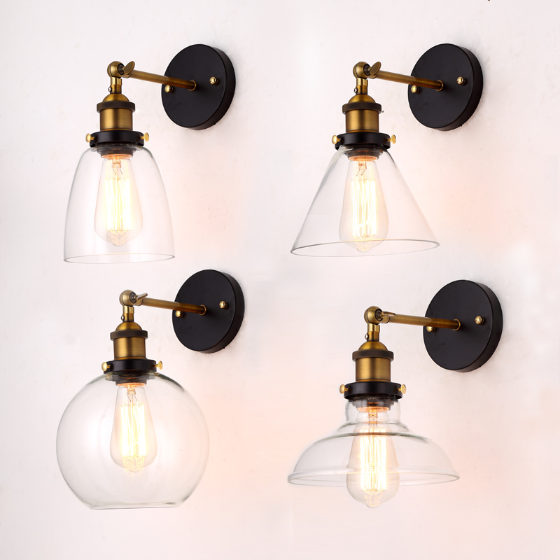 Borong Harga Loft Vintage Industrial Edison Wall Lamps Clear Glass Lampshade Antique Wall Wall Lights 110V 220V For Bedroom