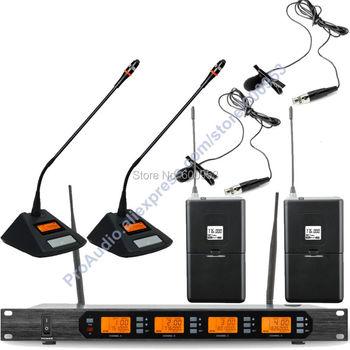 MICWL Audio Classic 400 Channel Digital Wireless 2 Desktop Meeting 2 Lavalier Lapel Clip On Karaoke Microphone Mic System
