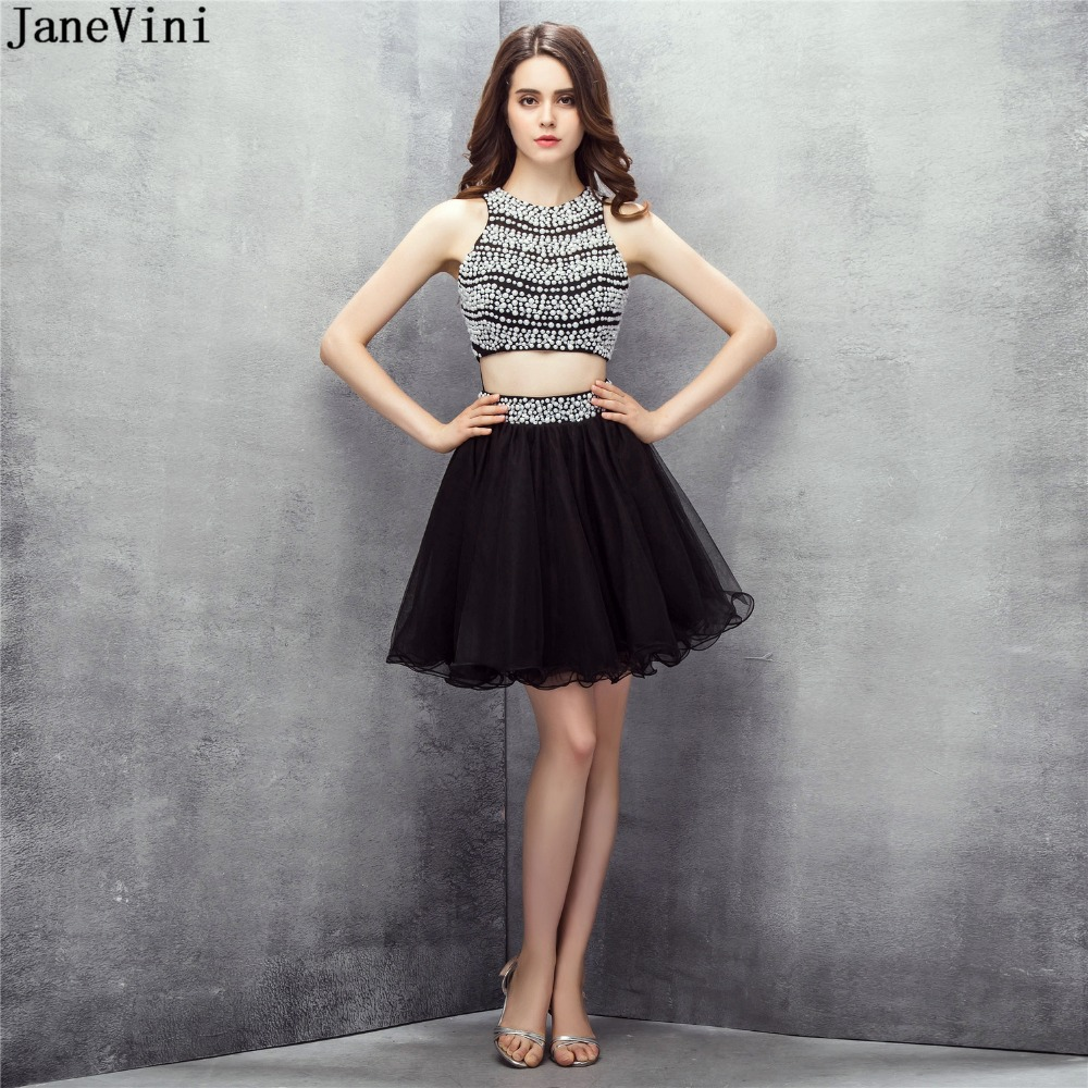 JaneVini Elegant Black Tulle Two Pieces Short Bridesmaid Dresses 2019 Luxurious Pearls Sleeveless A Line Mini Formal Party Gowns