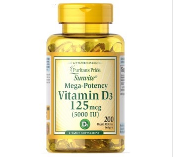 Pride Vitamin D3 5000 IU 200 Softgels Supports Healthier And Younger-looking Skin Supports Immune Health&muscle And Bone Health