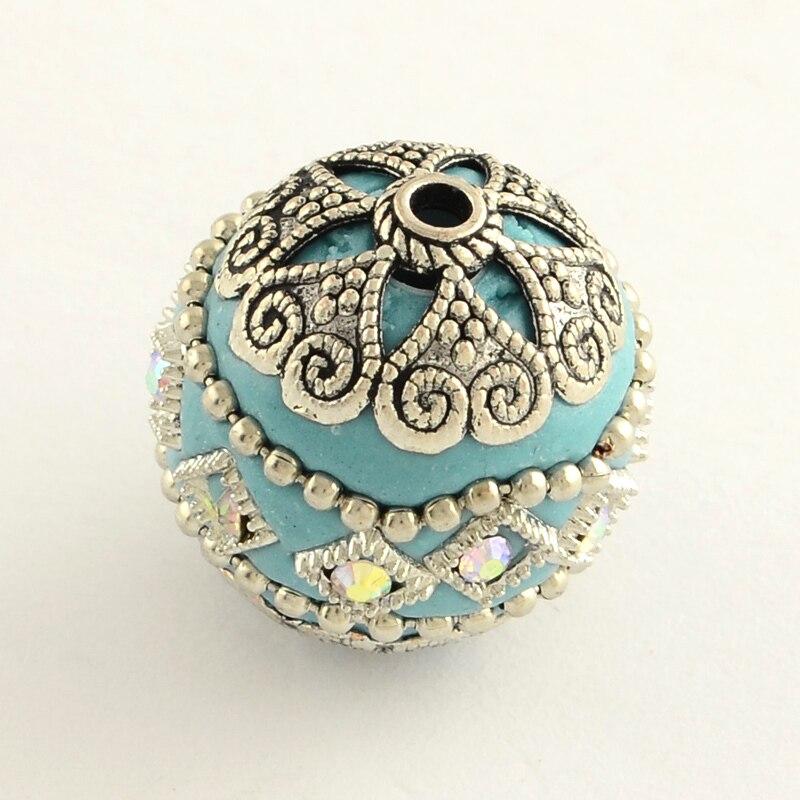 100 pièces 20mm ronde à la main strass indonésie perles avec des noyaux en alliage de ton d'or couleur mélangée bijoux à bricoler soi même Bracelets lMaking-in Perles from Bijoux et Accessoires    2