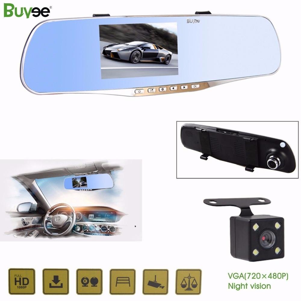 Buyee FHD 1080P Dual Lens Car Rear View DVR Dash cam Reversing Mirror Video Recorder camera for car recording + reverse camera