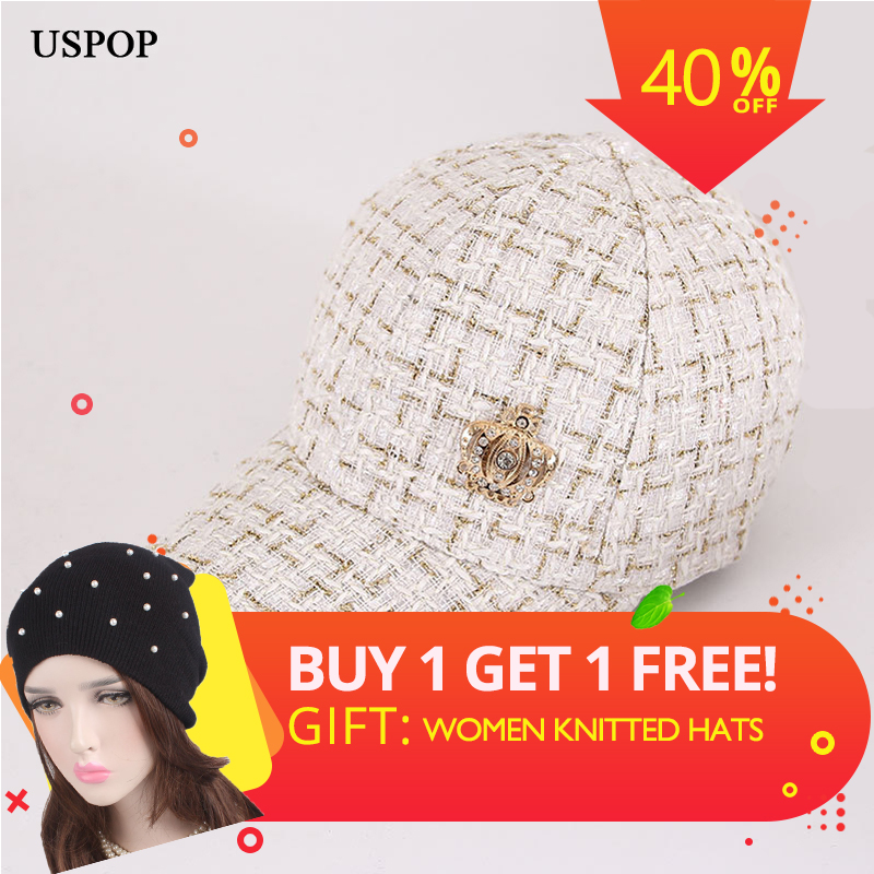 USPOP 2019 Hot fashion women   baseball     caps   female diamond crown plaid visor   cap   metal number thick   baseball     caps