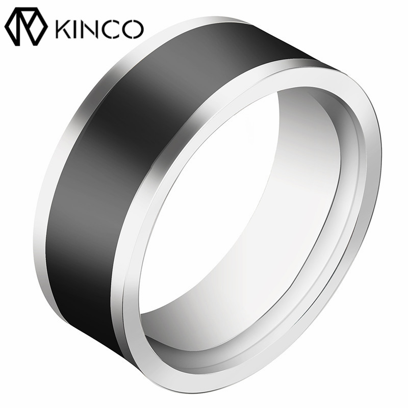 KINCO Titanium Steel 7-12 Yard Two-chip Black NFC Smart Ring Mobile Phone Unlock Waterproof Touch Unlock Health Protection Rings