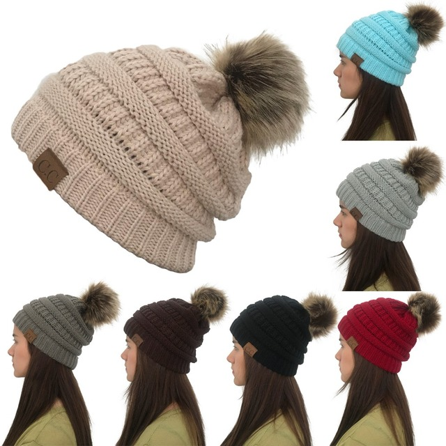 9c7fb9025c1b5 Women Winter Warm hat Beanie CC with Cute Faux Fur Pom Pom Ball knitted cap  Skully outdoor female casual ski caps