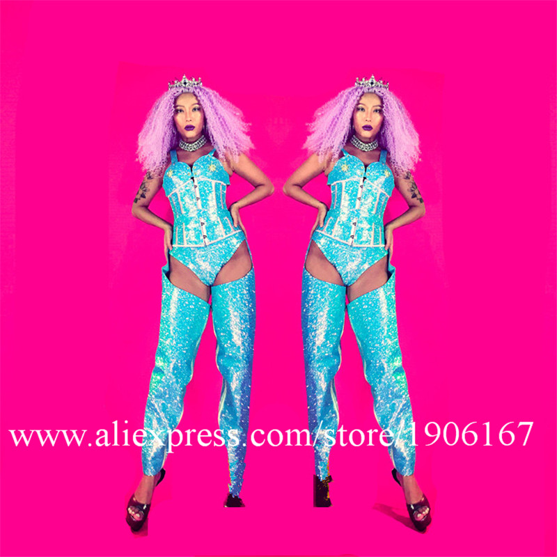 Nightclub GOGO Laser Blue Super Flash Fabric Sexy Costume Female Female Singer Costume03