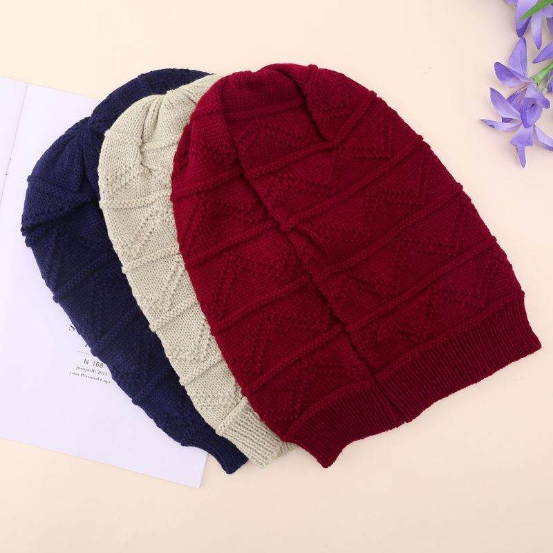Women Men Unisex Winter Stretchy Solid Color Beanie Cap Cable Plaid Thick Knitted Hat Knit Baggy Beanie Oversize Winter Hat Rib
