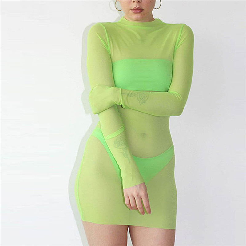 Women Mesh <font><b>Transparent</b></font> <font><b>Dress</b></font> <font><b>Sexy</b></font> <font><b>Night</b></font> <font><b>Club</b></font> Clothes Hot Sell Long Sleeve Skinny Solid Turtleneck See Through Mini <font><b>Dresses</b></font> Party image