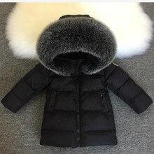 Детская короткая куртка на утином пуху для мальчиков, зимняя одежда для девочек, очень большой пуховик с воротником из лисьего меха, одежда, 2019