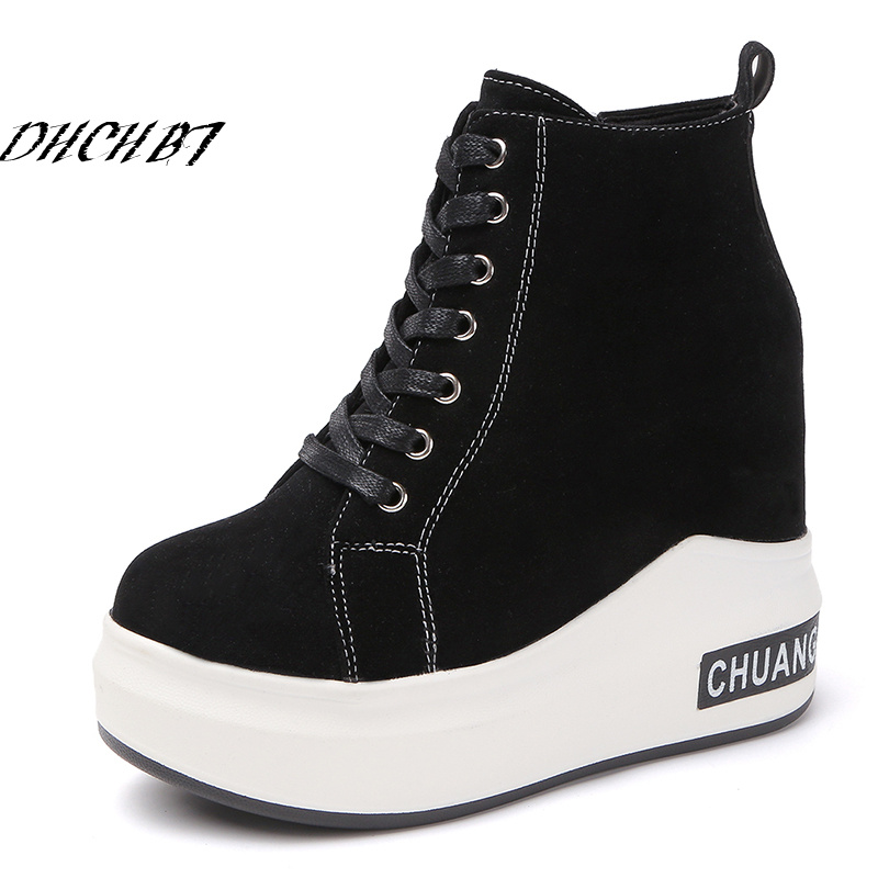 Black White Platform Women Shoes Spring Autumn Hidden Heel Fashion Wedge Sneakers Casual Lace Up Shoes