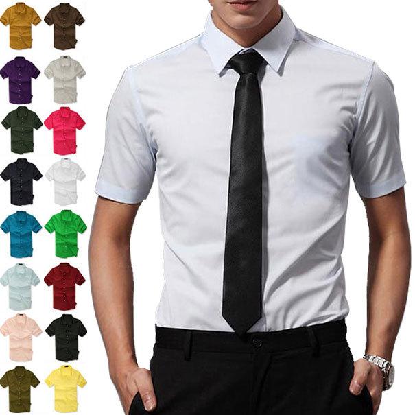 2016 Summer 16 colors! men's casual shirts, short sleeve shirt, candy color dress shirt Boutique all-match Mens Asia S-XXXL C182
