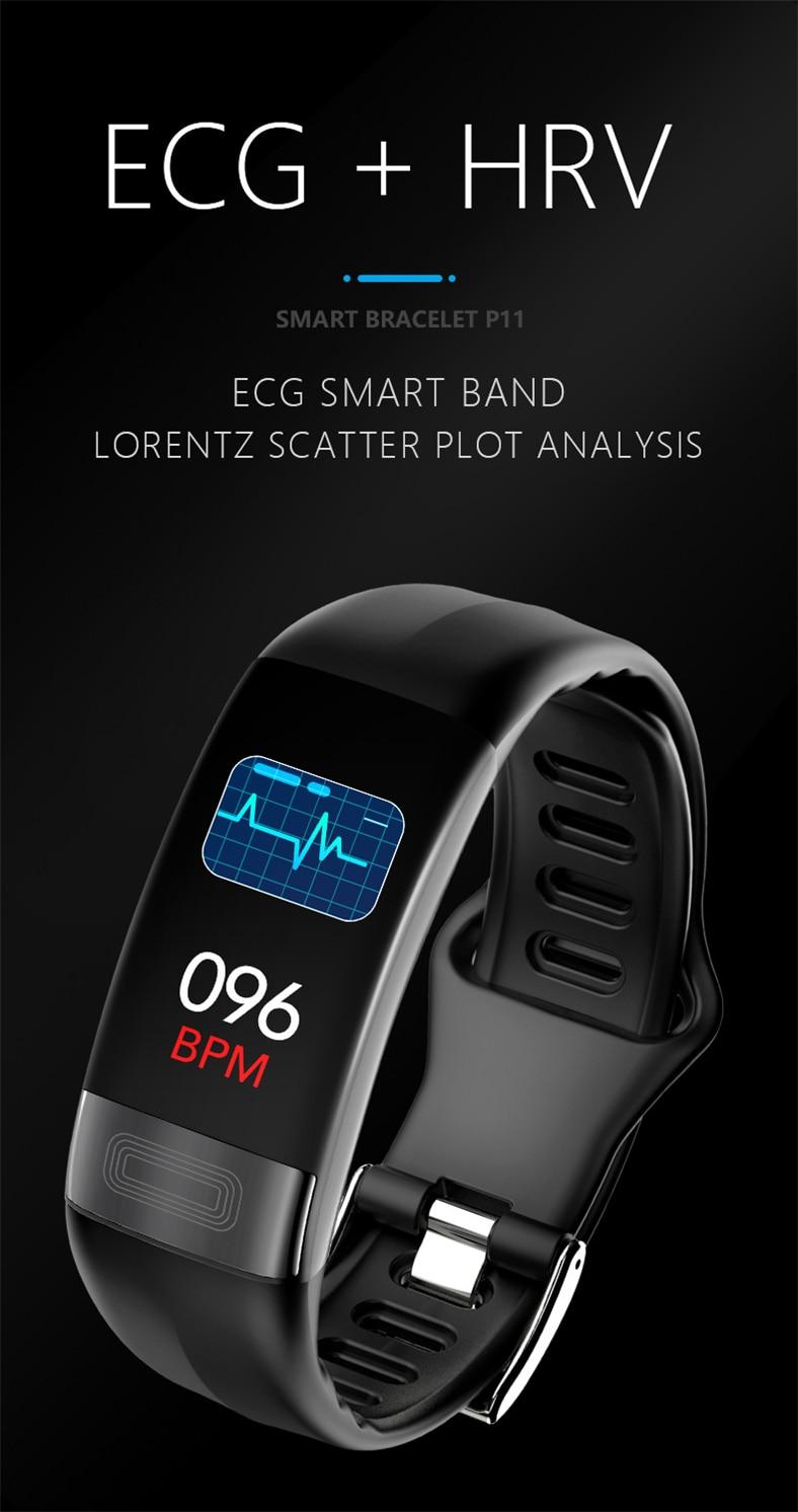 HTB1jotvQbvpK1RjSZFqq6AXUVXaN P11 Smart Bracelet Sport Smart Watch Men Women Smartwatch ECG Bluetooth Wristband Heart Rate Monitor Call Message Reminder Band