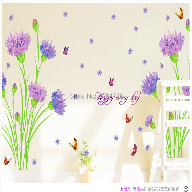 Purple Pollen Removable Wall Art Decal Sticker Diy Home: Φ_ΦLP 3D Purple Carnations ③ Room Room Vinyl Decal Art