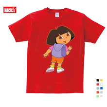 NEW Girls/Boys/Babys/Kids Pure Cotton Summer Clothes T Shirts Funny Top T Shirts Kids White Comfort Toddler Dora Explorer Tees цена