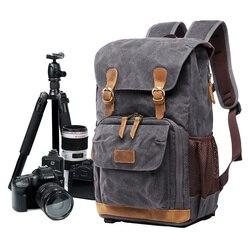 Wodoodporne modne Vintage Leisure fotografia plecak na płótnie statyw kamery zestaw torba pokrowiec obiektywu na laptopa na zewnątrz fotografia torby w Torby na aparaty/kamery od Elektronika użytkowa na