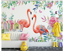 beibehang Modern minimalist classic fashion stereo papel de parede 3d wallpaper flamingo personality childrens room background