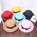 Новая Мода Плоским Вс Шляпы для Женщин Летом лук Соломенные Шляпы 12 Цвета Твердые Пляж шляпа Горячей Продажи Случайные Взрослых 58 см chapeu feminino