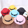 New Fashion Flat Sun Hats for Women Summer bow Straw Hats 12 Colors Solid Beach hat Hot Sale Casual Adult 58cm chapeu feminino