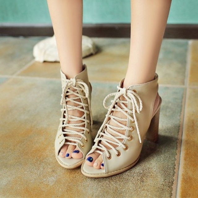 2016 Fashion Female Brand New Lace-up Thick Square Super High Heels Sandals Novelty Peep toe shoes Women Plus size  Pumps 47 48