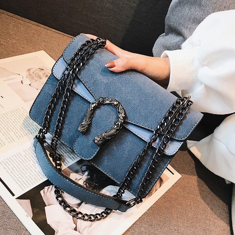 2019 frauen Kreuz Körper Tasche Hohe Qualität Polyurethan Leder Marke Deluxe Handtasche Designer-Mode Retro Kette Schulter Tasche