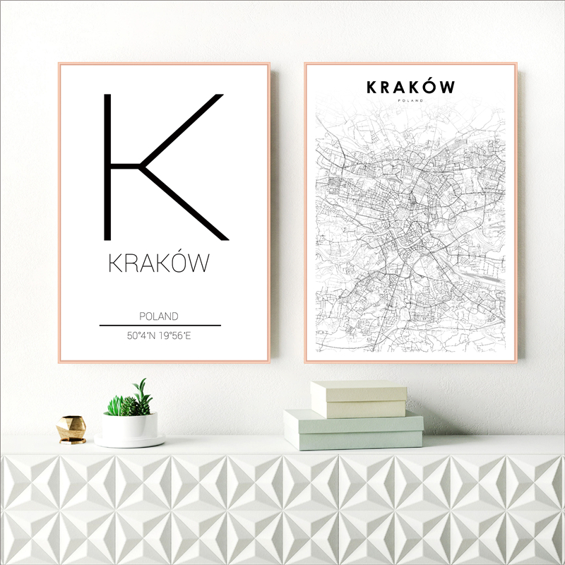 Krakow Cracow City Street Map Poster Modern Canvas Painting Art Prints For Poland Living Room Home Decor
