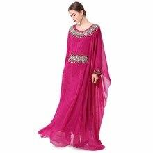 Mulheres vestuário muçulmano elegante Bordado de manga comprida vestido de noite Dubai vestido Kaftan marroquino Caftan vestido até o chão LF-17