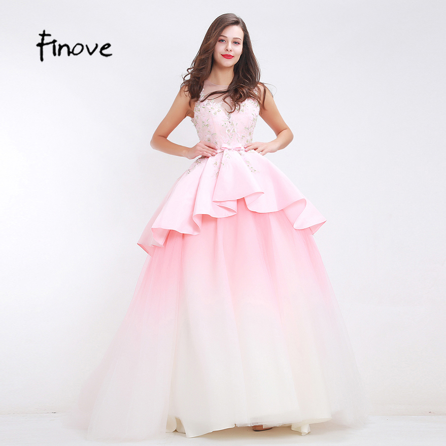 Finove Light Pink Beading Prom Dresses Two Layers Bow Belt 2018 New ...