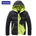 Hooded Cotton Overcoat Warm Thickening Slim Men's Solid Double Wear Parkas Down Jacket Contrast Color Outwear Abrigos Size M-4XL
