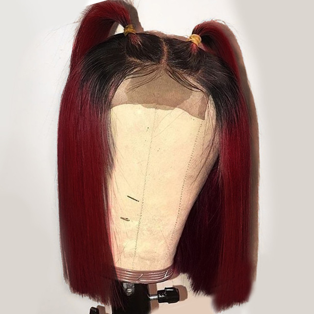 Brazilian Ombre 1B Red Short Bob Wig Straight Blunt Cut Remy Bungundy 99j Lace Front Human