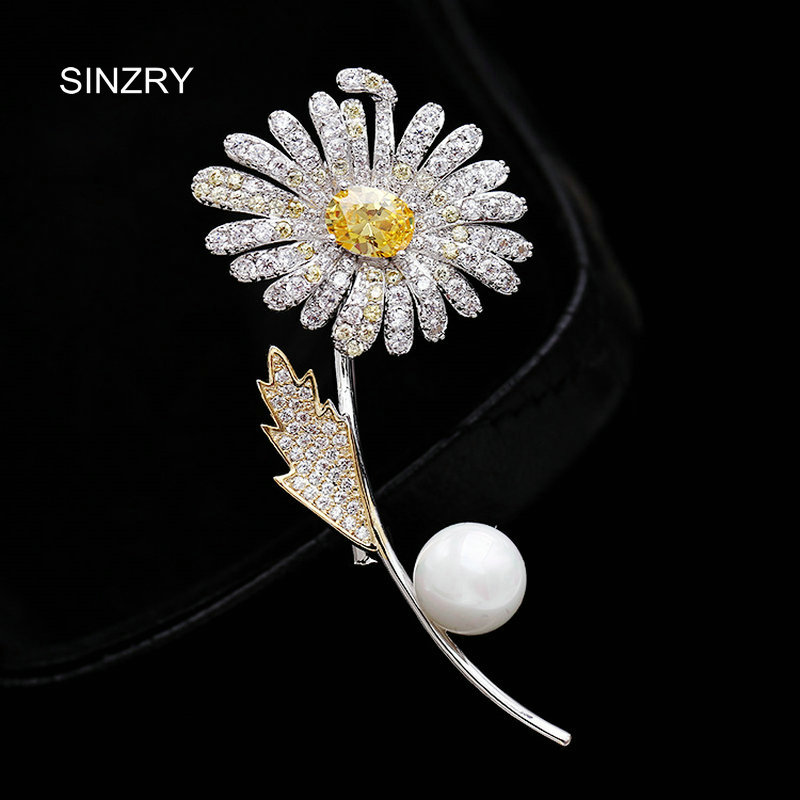SINZRY elegant New 2018 cubic zirconia yellow daisy flower suit brooches pin lady scarf buckle jewelry accessory for women 12pcs lot wholesale rhinestone flower brooches for women wedding bridal jewelry collar suit scarf decoration accessory broches
