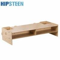 HIPSTEEN DIY Desktop Monitor Stand Wooden Monitor Riser With Storage Slots Dark Wood Grain