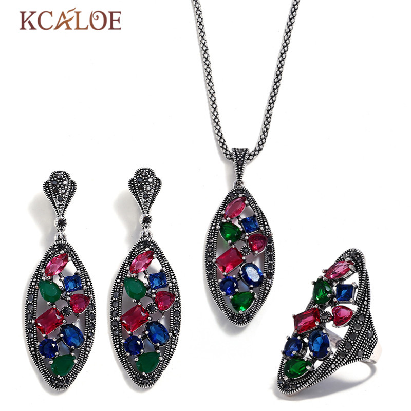 KCALOE Colorful Austrian Crystal Big Jewelry Set Antique Silver Color Pendant Necklace Sets Black Rhinestone Women JewelleryKCALOE Colorful Austrian Crystal Big Jewelry Set Antique Silver Color Pendant Necklace Sets Black Rhinestone Women Jewellery