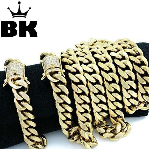 14mm Curb Cuban Chain Set Stainless Steel Mens Iced Out Rhinestone Cuban chain Necklace 80cm & cuban bracelet 23cm цены