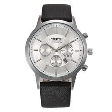 NORTH Sports Calendar Watches Men 30M Waterproof Quartz Watch Relojes Hombre Top Brand Genuine Leather Luxury Dress Wristwatches