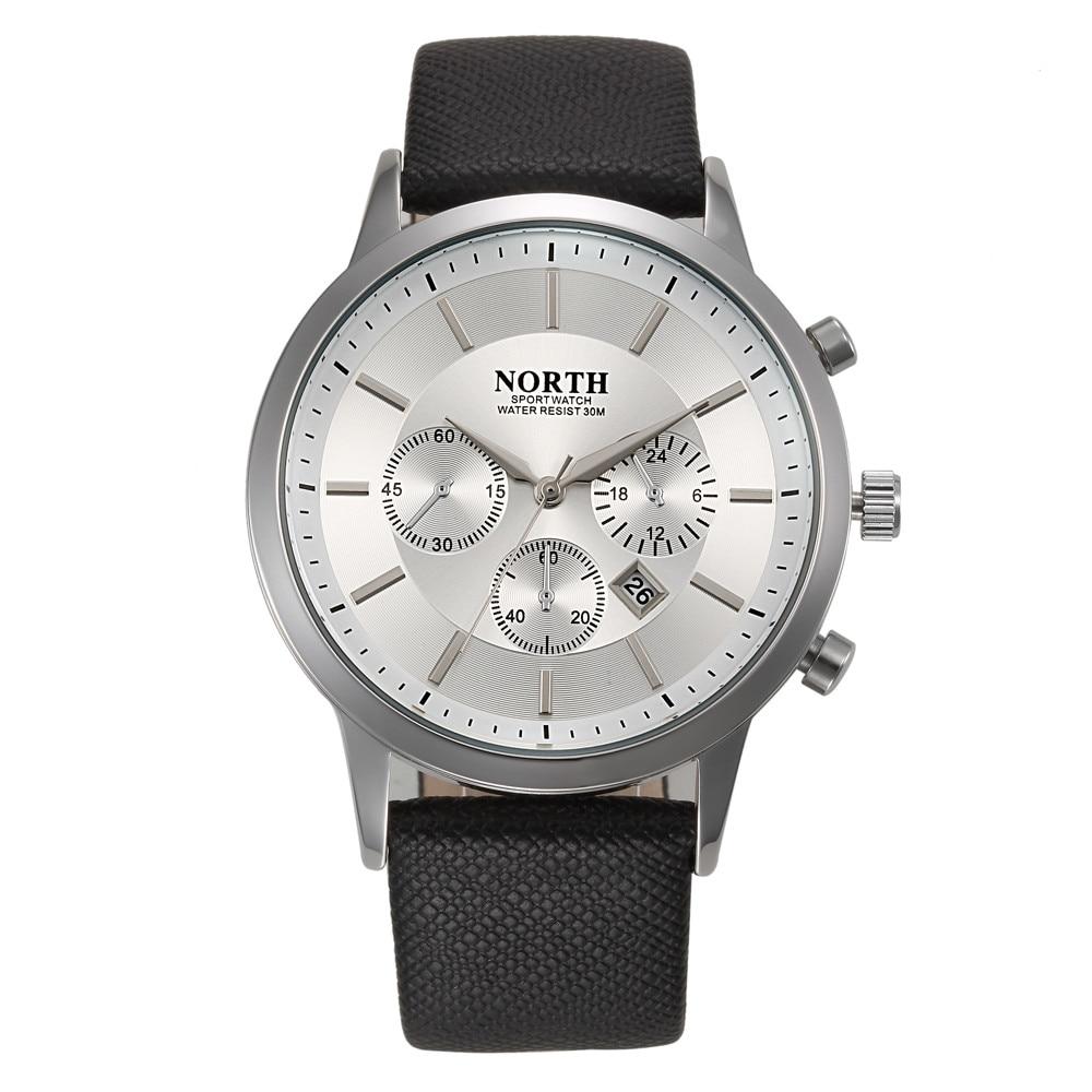 NORTH Sports Calendar Watches Men 30M Waterproof Quartz Watch Relojes Hombre Top Brand Genuine Leather Luxury